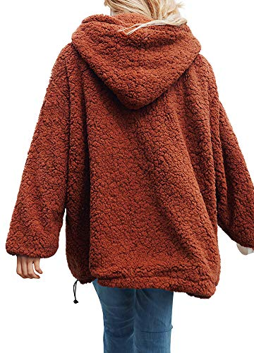 Mujer Vestir Cashmere Con Gruesa Brown Invierno Pullover Exteriores Suelta Capucha Fleece Prendas Caliente Abrigo De Romacci pUFOnxAF