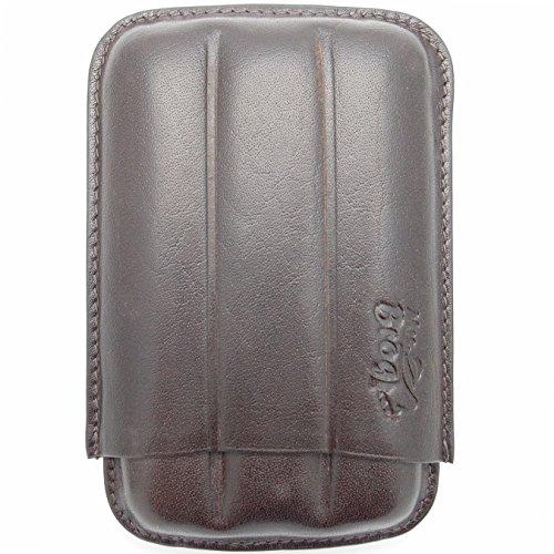 (Creased Leather Cigar Case - Authentic Full Grade Buffalo Hide Leather - Bordo)