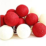 Chantubtimplaza String Lights 20 Ball Globes White Red Lantern Tone Party Fairy Wedding Christmas Patio Home Decor