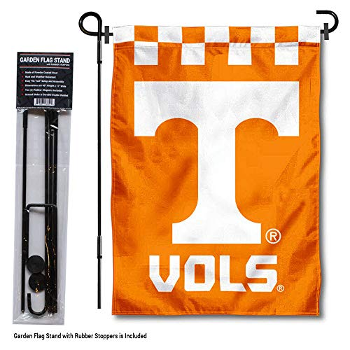 College Flags and Banners Co. Tennessee Volunteers Checkerboard Garden Flag with Stand Holder