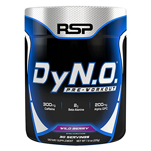 RSP Nutrition DyNO - Pre-Workout with Beta Alanine, Arginine and Alpha GPC for Energy, Power, Pump, Focus, All-Natural Colors & Flavors, Wild Berry, 30 Servings