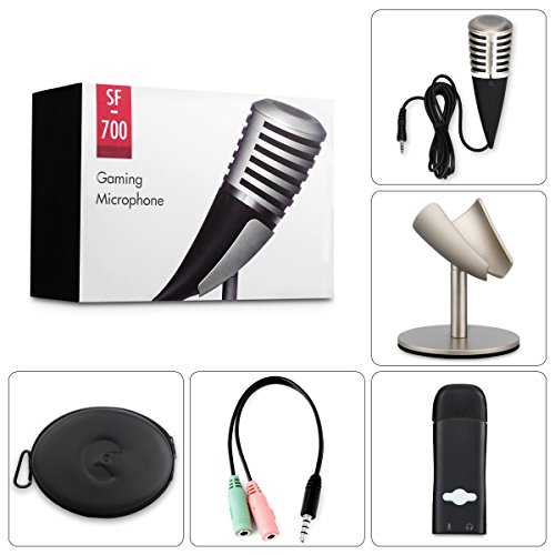 Excelvan SF-700 Condenser Microphone Professional 3.5mm Plug &Play PC Recording Mic with All Metal Stand Retro Unique Ox Horn Design for Broadcasting,Gaming, Music Recording by Excelvan (Image #1)