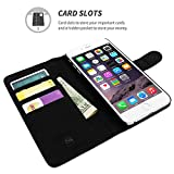 iPhone 6 Plus and 6S Plus Case, Snugg Black Leather Flip Case [Card Slots] Executive Apple iPhone 6 Plus and 6S Plus Wallet Case Cover and Stand - Legacy Series