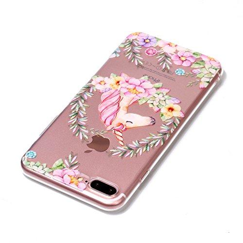 iPhone 8 Plus Hülle , Leiai Modisch Farbe Pferd TPU Transparent Clear Weich Tasche Schutzhülle Silikon Handyhülle Stoßdämpfende Schale Fall Case Shell für Apple iPhone 8 Plus