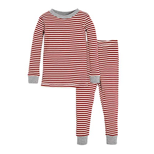 Burt's Bees Baby Baby Pajamas, Tee and Pant 2-Piece PJ Set, 100% Organic Cotton, Red/White Stripes, 12 Months