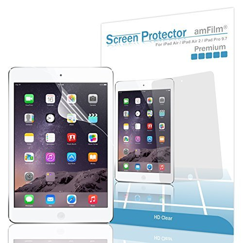 HD Clear Flex Film 6th Gen, Pro 9.7, Air, Air 2 2 Pack amFilm Screen Protector for iPad 9.7