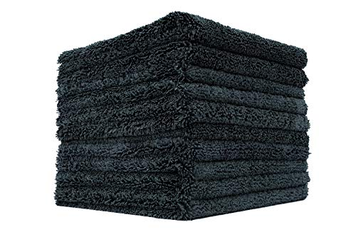 10 Wizard - THE RAG COMPANY (10-Pack) 16 in. x 16 in. Professional Edgeless 70/30 Blend 420 GSM Dual-Pile Plush Microfiber Auto Detailing Towels Creature Edgeless (Black)