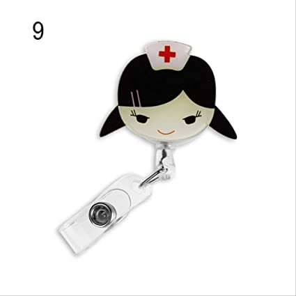 Porta Badge da Collo 1 Pz Simpatico Cartone Animato Mini Distintivo Retrattile Bobina Medici Infermieri Cordini Studenti Id Nome Badge Badge Titolare Clip Forniture Per Ufficio 09