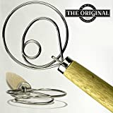 "The Original Danish Dough Whisk - LARGE 13.5"" Stainless Steel Dutch Style bread dough whisk for pastry, pizza. Great alternatives to a blender, mixer or hook"