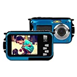 KINGEAR PDK1026 Double Screens Waterproof Digital Camera 2.7-Inch Front LCD with 2.7inch Camera--Blue