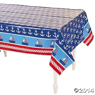 Fun Express Plastic 1st Birthday Sailor Table Cover (2-Pack)