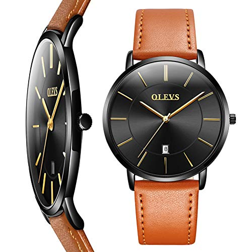 Minimalist Watch,Ultra Thin Watches for Men,OLEVS Men Watches Luxury Brand Brown Leather Wrist watch for Men Black,Fashion Casual Male Wrist Watches with Date,Slim Watches for Men