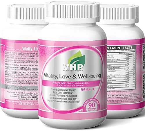 Vitality, Love & Well-Being; Best Stress Relief Supplement for Women; Ashwagandha with Multivitamin, L Carnitine, Zinc and Selenium; Skin and Hair Health; Boosts Energy and Immunity; 90 Capsules