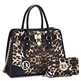 MKP Collection Fashion Woman Handbag and Wallet set~Beautiful Tote~Designer Satchel~Fashion Purse~Fall & Winter color,warm color (6892W) Leopard