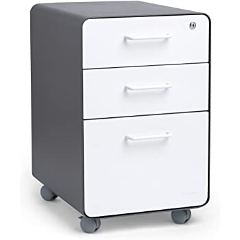 Amazon Com Poppin Charcoal White Stow Rolling 3 Drawer