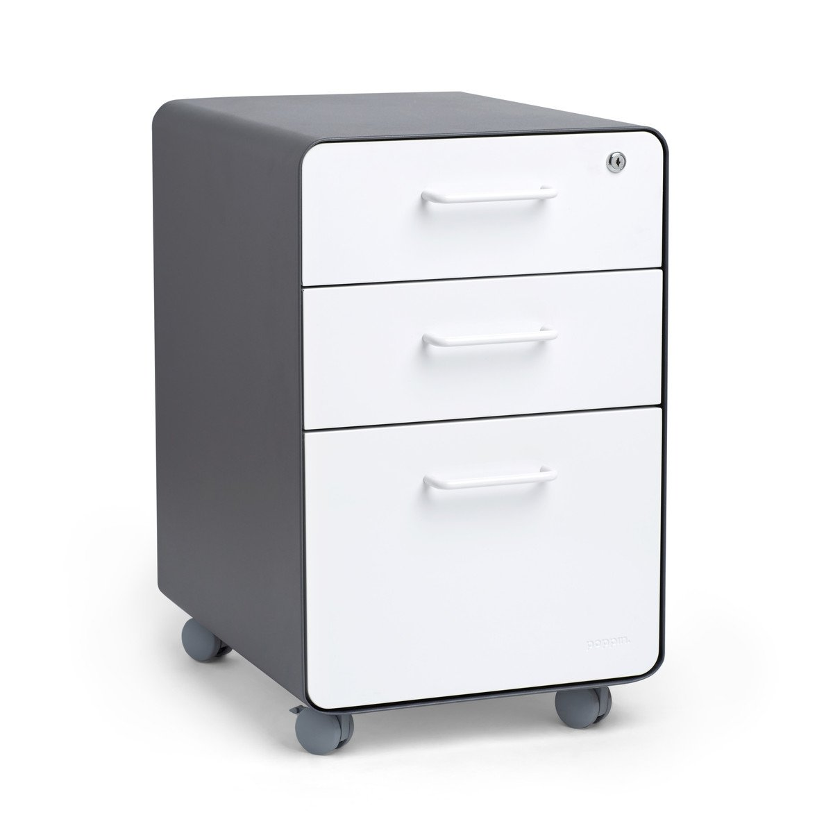 Poppin Charcoal + White Stow Rolling 3-Drawer File Cabinet, Available in 10 Colors, Legal/Letter