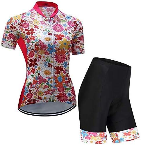 新しい女性のサイクリング半袖スーツ夏サイクリングスーツウィッキング通気性ジャケットショーツ