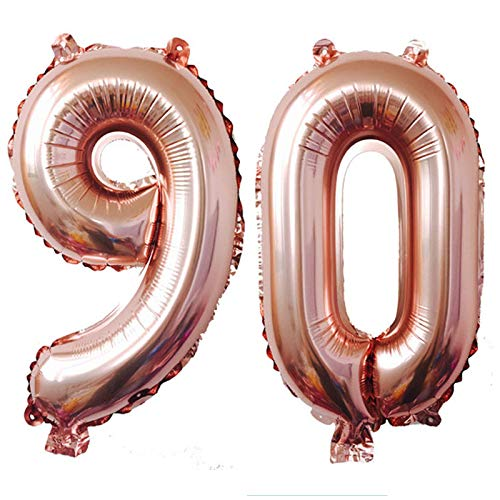 KIYOOMY 40 in Number 90 Balloon Rose Gold Gaint Jumbo Foil Mylar Number Balloons for 90th Birthday Party Decorations (90 (Rose Gold))