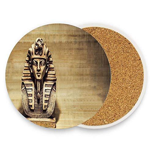 keyishangmaoLu Stone Pharaoh Tutankhamun Mask Sculpture Papyrus BackgDesign Coaster Ceramic Cork Trivet Heat Resistant Hot Pads Table Cup Mat Coaster 1 Piece