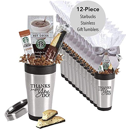 12-Piece Starbucks Stainless Steel Gift Tumbler/Employee Appreciation Gifts/Admin Office Gifts/Holiday Mug/Teacher Appreciation Gift/Corporate Thank You Travel Mugs/Nurse's Day Gifts by CGS BRANDING