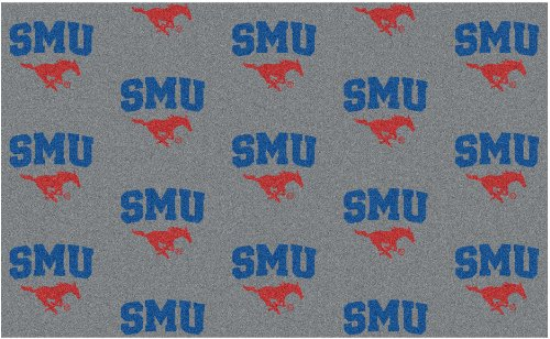 8'x10' SOUTHERN METHODIST - Milliken NCAA College Sports Team Repeat Logo 100% Nylon Pile Fiber Broadloom Custom Area Rug Carpet with Premium Bound Edges