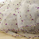 Iris Tech Premium Rose Embroidered Organza Lace Floral Fabric- By the Yard (Purple)