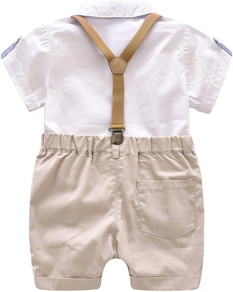 Odziezet Baby Jungen Anzug Kurzarm Strampler mit Hosentr/äger Outfits Sommer 3-18 Monate