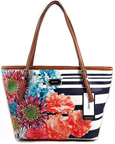 Nine West It Girl Handbag, Multicolored Floral with Horizontal Stripes