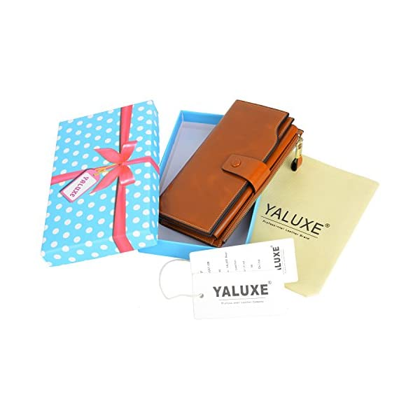 YALUXE Genuine Leather Wallet Women's RFID Blocking Large Capacity Luxury Wax Clutch Multi Card Organizer