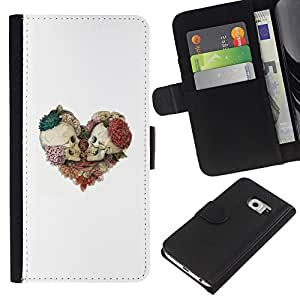 ZCell / Samsung Galaxy S6 EDGE / Skull Floral White Rose Death Heart / Caso Shell Armor Funda Case Cover Wallet / Cráneo floral blanco ros