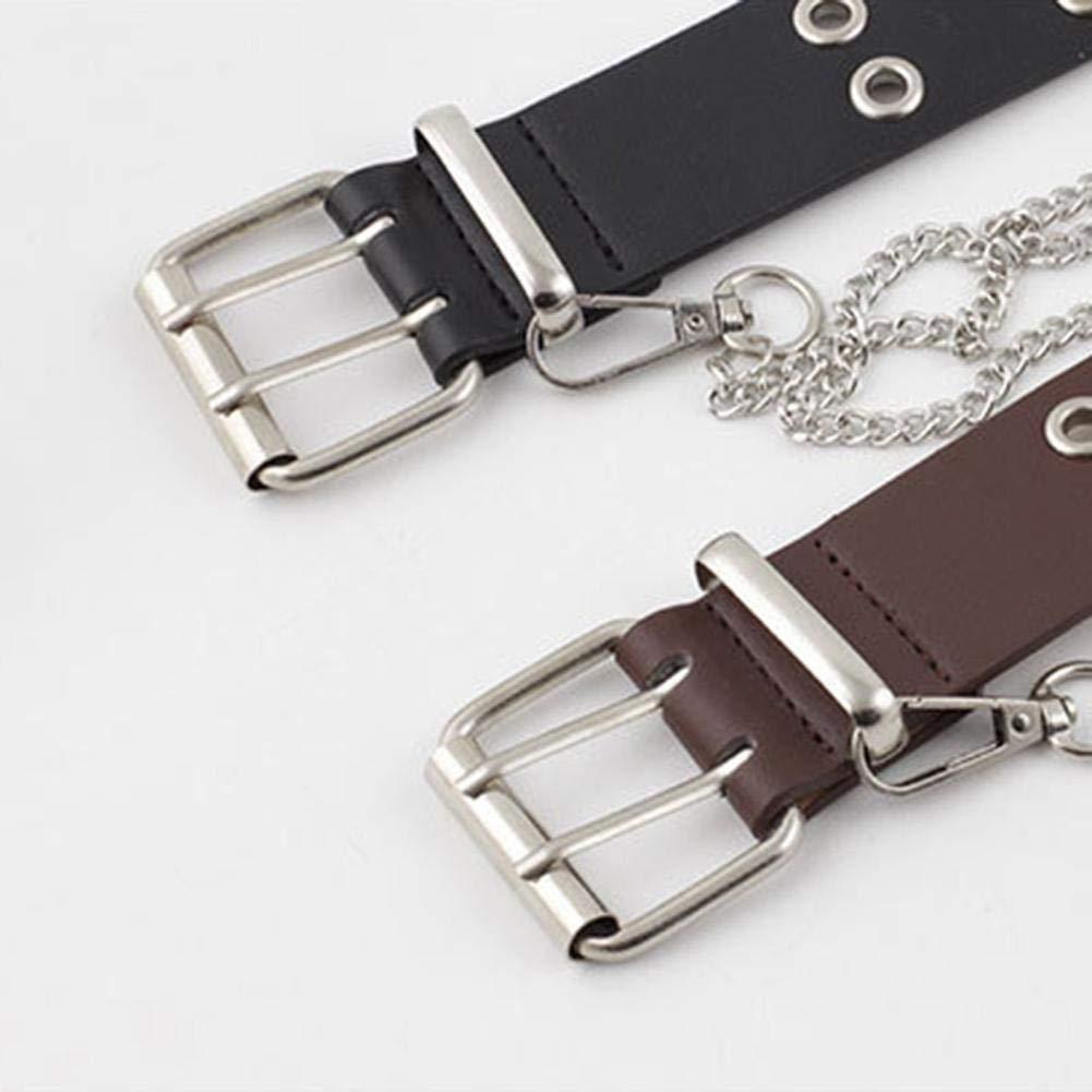 Cinturón de cadena de Punk para Damas Negro Ajustable doble//Single con ojales de Cuero Hebilla Cinturón y
