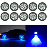 red and blue lights for atv - YUK 10x 12smd 15W Eagle Eye DRL LED Rock Light Kits, Ampper Waterproof Underglow LED Neon Trail Rig Lights for Car Truck ATV UTV Raptor Offroad Boat 4WD Trail Rig Lamp Underbody Glow Blue