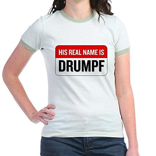 CafePress - His Real Name is Drumpf T-Shirt - Jr. Ringer T-Shirt, Slim Fit 100% Cotton Ringed Shirt Mint/Avocado