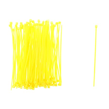 100pcs 1,9x100mm Lazos de Bucle del Cable Sujeción de Nylon Alambre Autobloqueo - Amarillo
