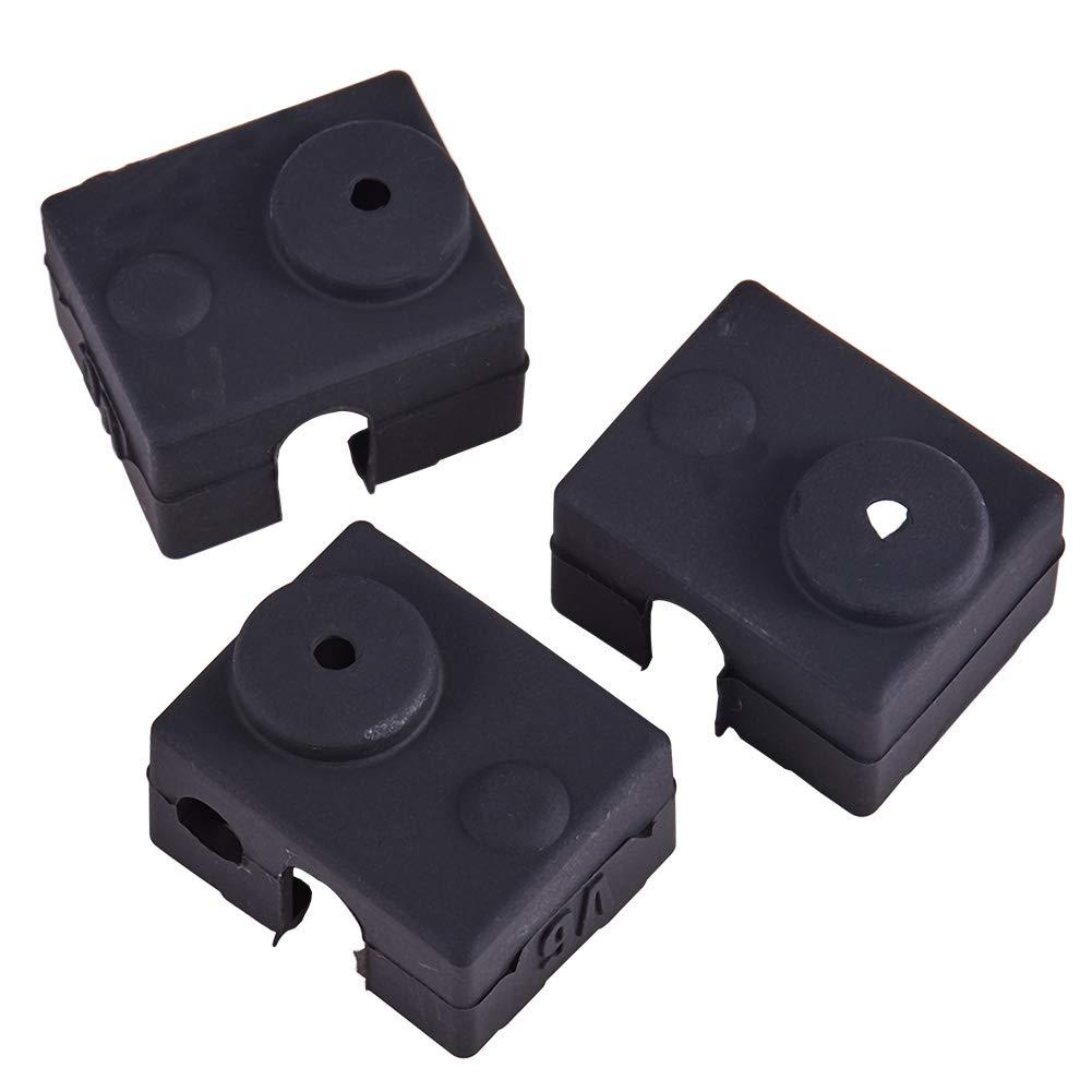 1 imprimante 3d Bloc de chauffage de chaussette de Coque en silicone Housse MK7/MK8/Hotend Chauffage de prot/éger 20x20x10mm Noir