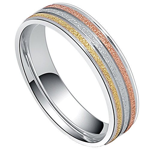 - UNAPHYO Women's Stainless Steel Sandblast Tri Color Ring Rose Gold Silver 5mm Size 7