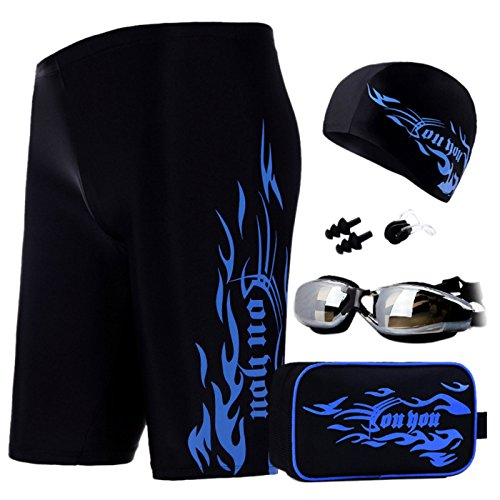 Men's Swimming Gear Set Swim Trunks Mirrored Goggles Swim Cap Earplug Waist Bag Blue Size US M/Asian ()