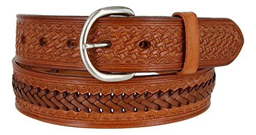 "Hagora Men's Basket Motif Texture Real Leather 1-1/2"" Wid..."