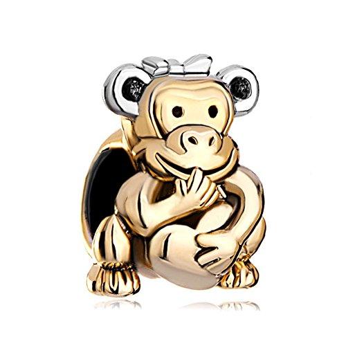 22K Golden Plated Monkey Holding Heart Love Bead Fits Pandora Charms Bracelet ()