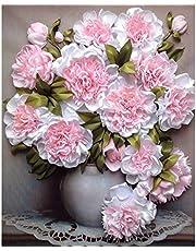 MXJSUA 5D Volledige Vierkante Diamant Schilderij Kit DIY Boor Foto Art Craft voor Thuis Muur Decor Roze Witte Bloemen 30x40 cm