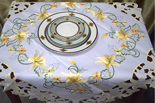 FOSHAN MINGZE Summer Gloden Flora Diecut Decorative Table Linens Square 36