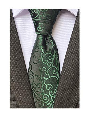 Necktie Black Background (Men Classic Dark Green Silk Tie Assorted Dress Skinny Necktie Gift for Birthdays)