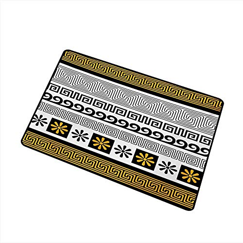 Diycon Interior Door mat Greek Key Traditional Ornament from Greece Historical and Cultural Heritage Theme W35 xL59 All Season General