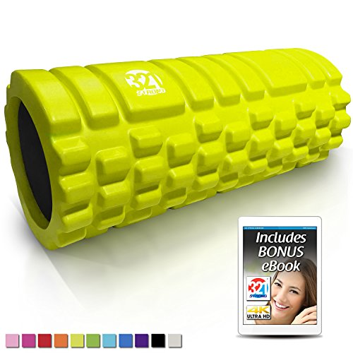 321 STRONG Foam Massage Roller - Deep Tissue Massager for Your Muscles & Back, Fluorescent Lime