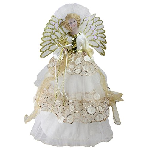 16'' Lighted B/O Fiber Optic Angel in Cream and Gold Sequined Gown Christmas Tree Topper by Christmas Central (Image #1)