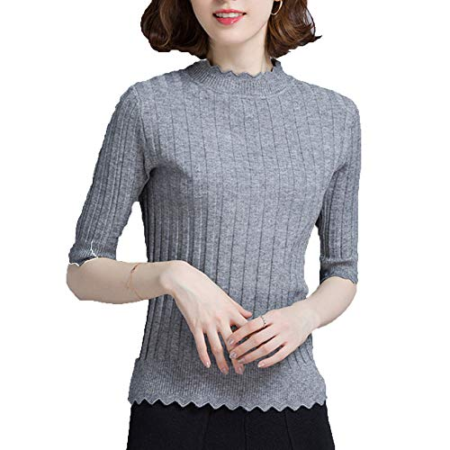Suéteres Media Manga Jersey De Jerseys Top Alto Mujer Grey Cuello Casuales qqr1CF