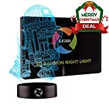3D Optical Illusion Night Light - 7 LED Color Changing Lamp - Cool Soft Light Safe For Kids - Solution For Nightmares - Star Wars R2D2