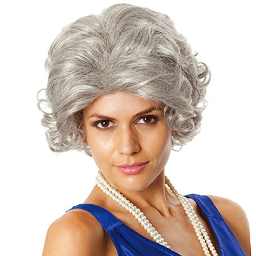 [Old Woman Wig (Unisex) - Choose Style (Gray or Gray/Blonde) - #1 Old Lady Woman Wig (Gray)] (Old Wigs)