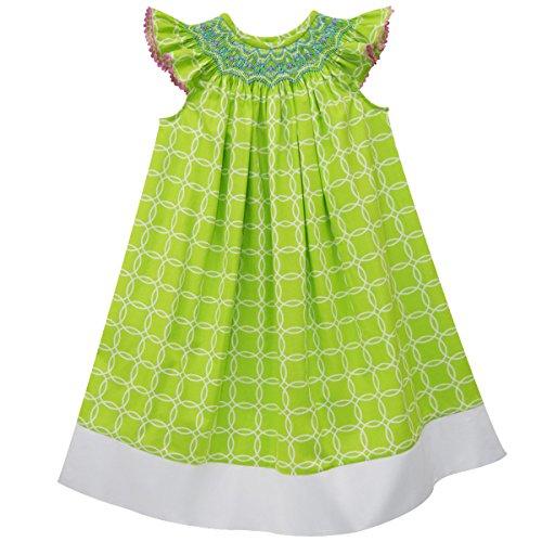 Vive La Fete Green Circle Smocked Angel Wing Bishop Dress -