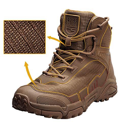 FREE SOLDIER pour Homme Mid Haute durabilité Lacets Bottes Durable Imperméable Armée Combat Chaussures Respirant… 2